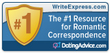 WriteExpress award from DatingAdvice.com